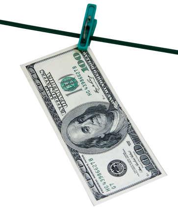 laundered: hundred laundered dollars on the tip Stock Photo