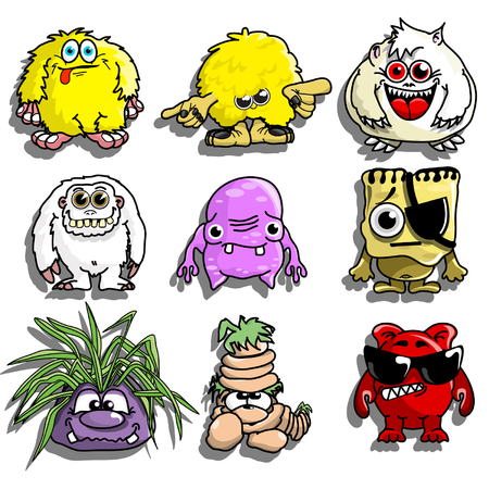 Cute Cartoon Monsters Illustration
