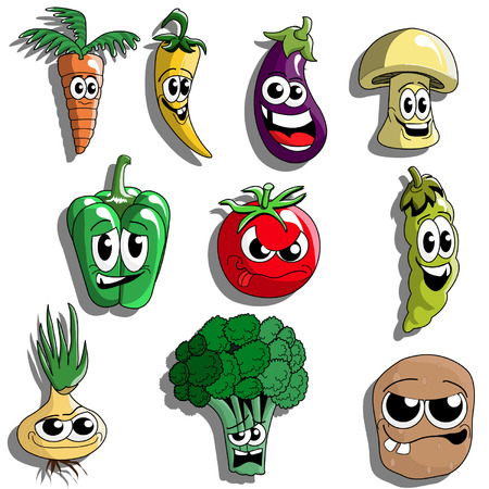 Funny Cartoon Vegetables Vector