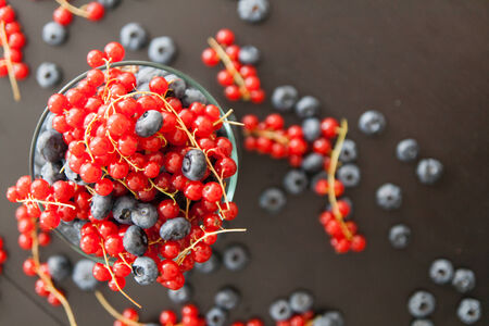 Blueberry and redcurrant in big glass on dark wood background 写真素材