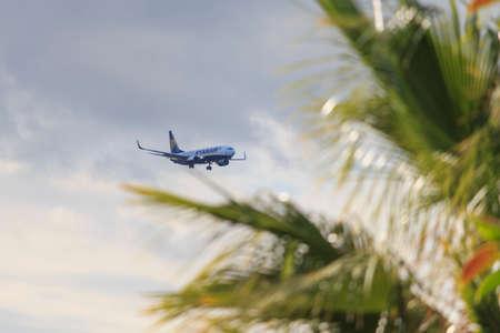 Airplane Boeing 737-8AS Ryanair landing in Tenerife aiport Editorial