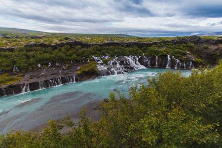 Hraunfossar waterfall at summer season Iceland Europe