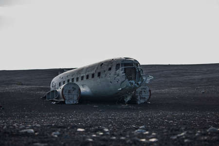 Airplane wreck from front side. In Iceland at summer