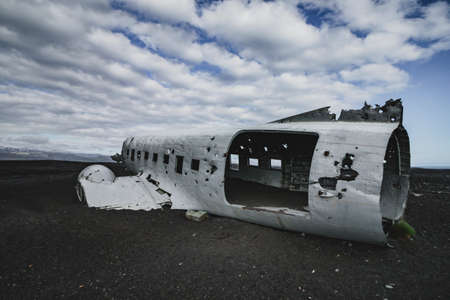Airplane wreck from left side. In Iceland at summer