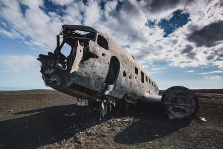 Airplane wreck from front left side. In Iceland at summer Reklamní fotografie
