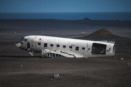 Airlane wreck from left side. In Iceland at summer