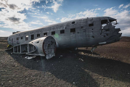 Airlane wreck from front right side. In Iceland at summer