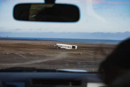 Airplane wreck through the windshield. In Iceland at summer