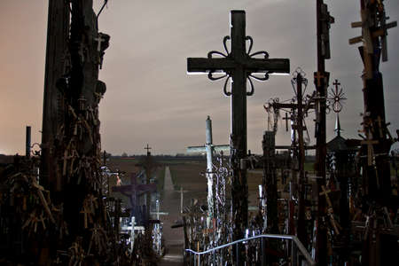 Hill of Crosses at night, mysterious spooky scary