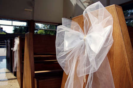 White ribbon in church. Wide angle lens