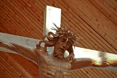 Christus on the cross close up background