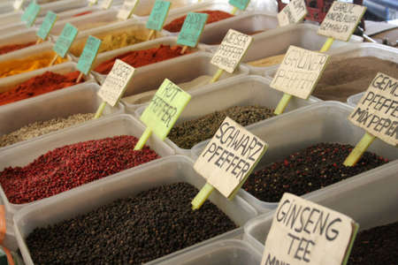 The colorful spices in a Turkish market