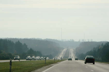 Highway in Lithuania at spring time smog