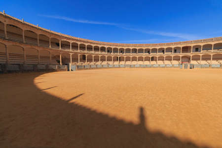 Bullring of the Royal Cavalry of Ronda wide angle no people Reklamní fotografie - 122352416