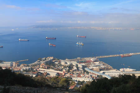 Gibraltar Harbor view from The Rock summer season day time