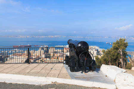 Black cannon targeted to the sea, The rock, Gibraltar summer season day time