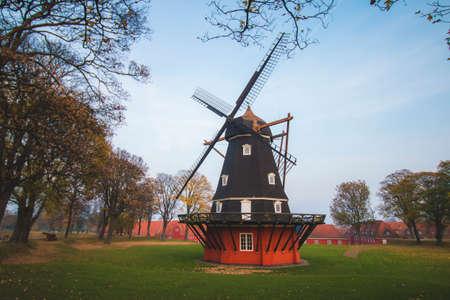 Old historic windmill, Copenhagen, Denmark, Scandinavia, cloudy day