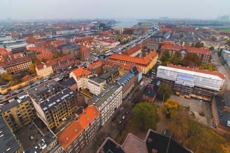 Copenhagen Christianshavn center skyline city view at the autumn