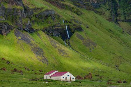 Icelandic abandoned farm at summer season cloudy day