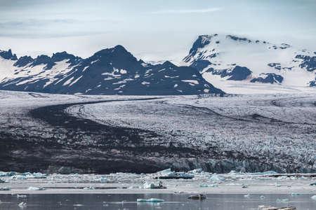 Melting tongue of the Breidamerkurjokull glacier summer season