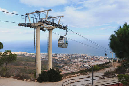 Cable car in city Benalmadena Spain at summer time