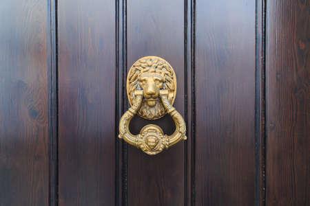 Lion head door knock on an old new wooden door in Malaga, Spain