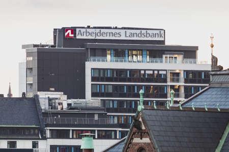 Copenhagen, Zealand Denmark - June 27 2019: Arbejdernes landsbank headquarters office in center of Copenhagen Denmark.