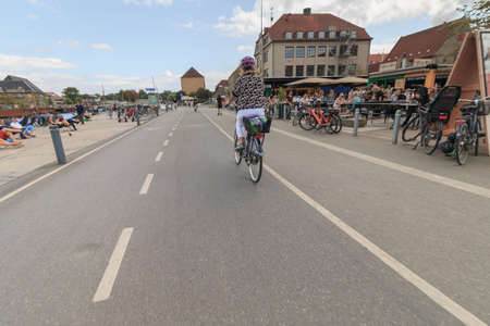 Copenhagen, Zealand Denmark - July 21 2019: Drive trouth the Inderhavnsbroen bridge in Copenhagen, Denmark Redakční