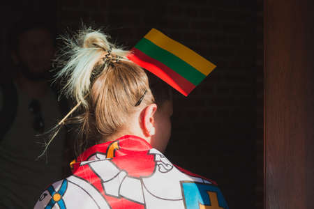 Young woman with sticked lithuanian flag in hairs Reklamní fotografie