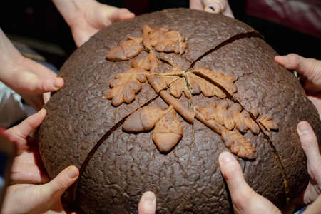 Multiple young hands share brown round bread