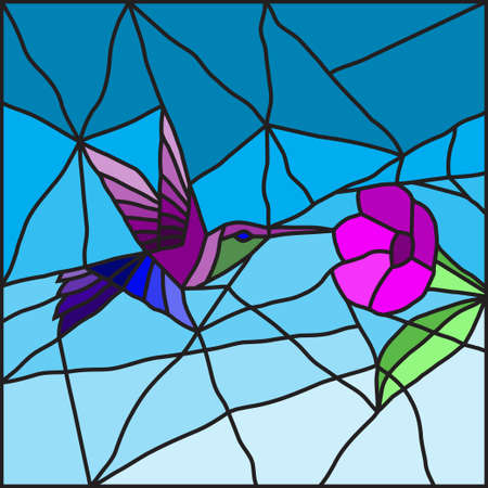 glass door: Hummingbird on a flower stained glass for decoration of your interior
