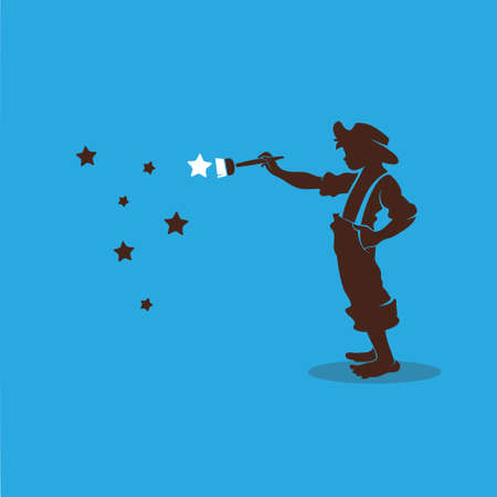 whitewash: Boy paints the stars in the sky Illustration