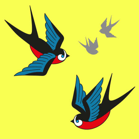 swallows: Spring background with flying swallows Illustration