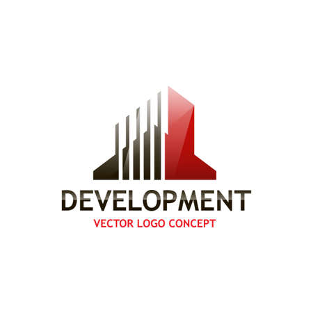 construction firm: The concept of building logo on isolated background
