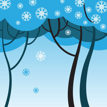 winter tree: Winter tree with snowflakes on a blue background