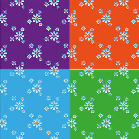 chamomiles: Seamless pattern with chamomiles on blue background