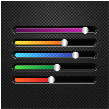 Multicolored horizontal sliders to adjust. The equalizer for a player