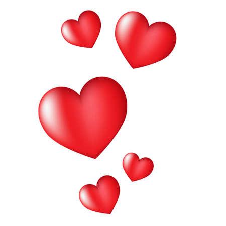 Corazones rojos Día de San Valentín tarjeta sobre fondo blanco