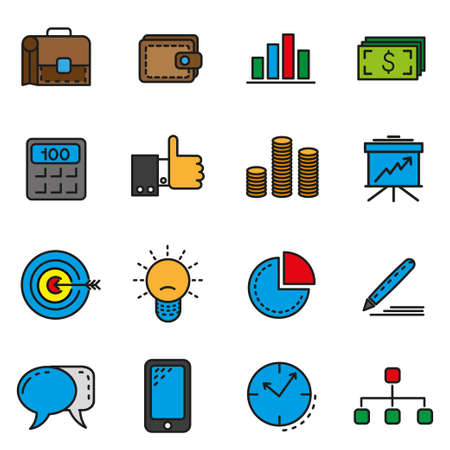 Set of icons in the linear style of business theme