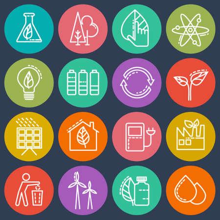 electricidad industrial: De ahorro de energía conjunto de iconos de colores sobre un fondo aislado.