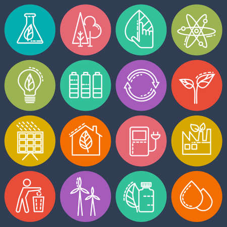 electricity icon: Energy-saving set of colored icons on an isolated background.