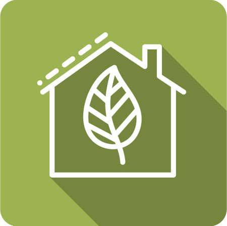 home accent: Icon house with leaf into flat style