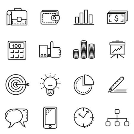 newspaper icon: Business Icons - Set of business icons isolated on a white background.  Eps10. Illustration