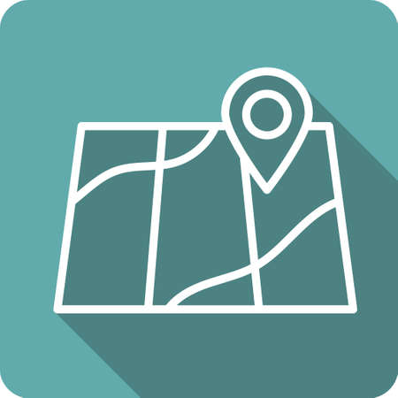 navigational: Concept of abstract street map with navigational elements and symbol. Flat design style modern vector illustration. Isolated on stylish background.