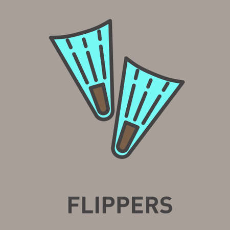 flippers: Flippers blue flat icon isolated on background