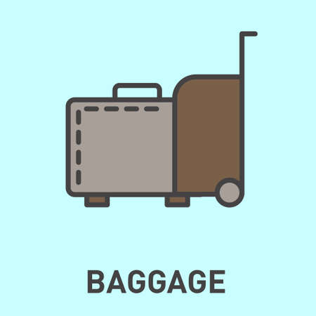 ling: Baggage icon. Travel baggage icon. Concept flat style design illustration icon.