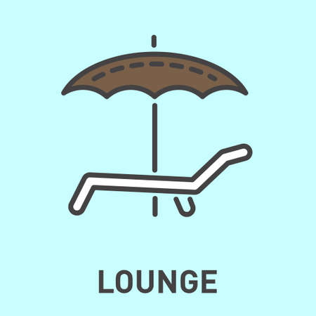 deckchair: a deckchair with an umbrella isolated minimal icon. Line icon for websites and mobile minimalist flat design.