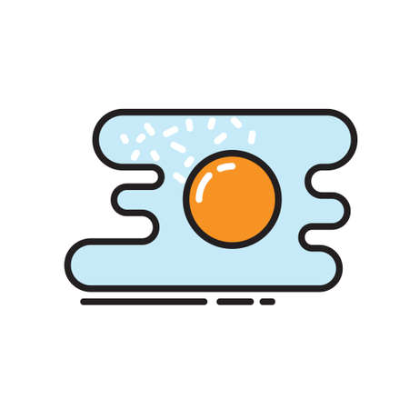 colored egg: colored egg fried icon at isolated background Illustration