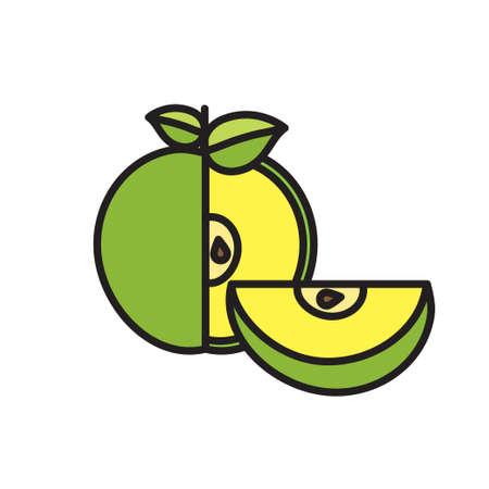 apple slice: cut Apple icon with slice on isolated background Illustration