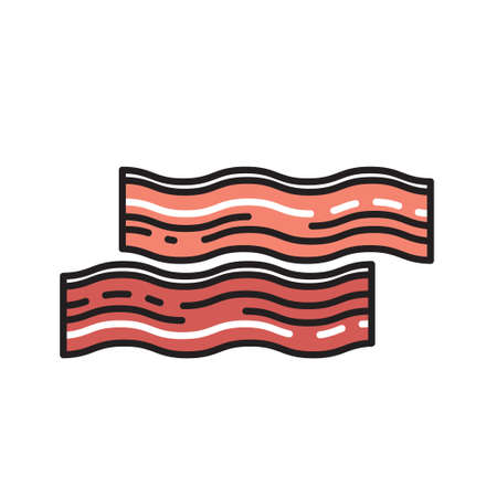 hock: bacon in a modern style icon with shadow and isolated background. Symbol of bread.